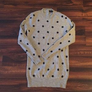 Jcrew Italian Cashmere Grey/black polkadot sweater
